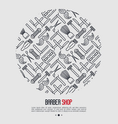monochrome barber shop concept with thin line icon vector image