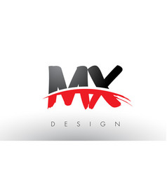 mx m x brush logo letters with red and black vector image