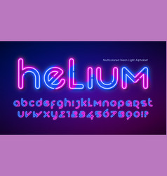 Neon light alphabet extra glowing futuristic type vector