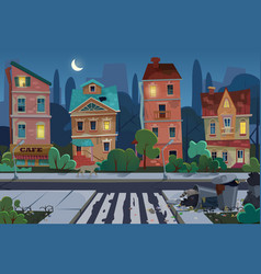 night old city view with rubbish and dirty area vector image