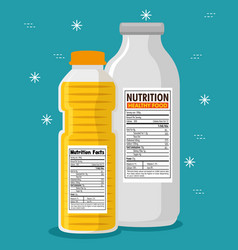 Oil and milk bottles with nutrition facts vector