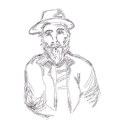 Old man sketch hand drawn vector image