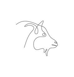 one line goat head design silhouette logo design vector image