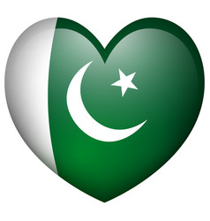 Pakistan flag in heart shape vector