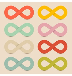 Paper Colorful Infinity Symbols Set on Recycled vector