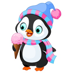 Penguin eats an ice cream vector