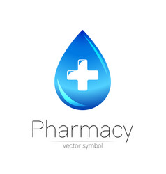 Pharmacy symbol blue drop with cross vector