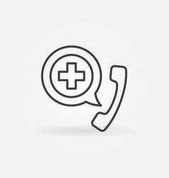 phone with cross outline icon emergency call vector image