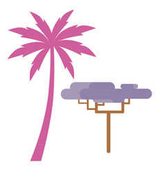pink palm and violet exotic tree isolated on white vector image