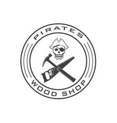 Pirate skull logo template for wood shop vector