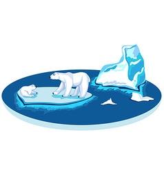 Polar bears on an iceberg on a flat circle vector image