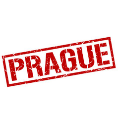 Prague red square stamp vector