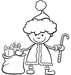 santa claus kid cartoon coloring page vector image