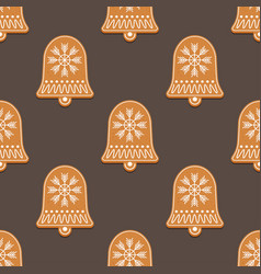 seamless pattern with gingerbread bell vector image