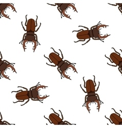 Seamless pattern with stag-beetle Lucanus cervus vector