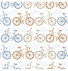 seamless vintage bicycles pattern vector image