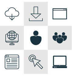 Set 9 online connection icons includes website vector