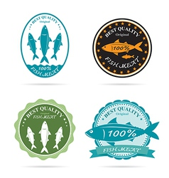 set an fish label vector image