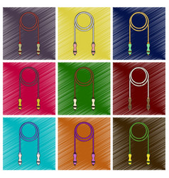 set of flat shading style icon jump rope vector image
