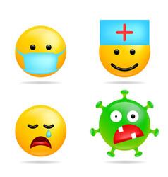 Set smile emoji coronavirus infection face with vector