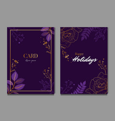 Simple dark purple floral celebration wedding vector
