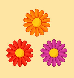 Simple of orange red and violet flower with vector