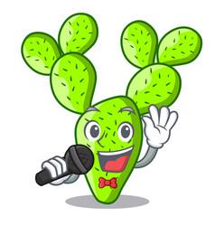 Singing beautiful opuntia cactus in the garden vector
