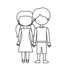 sketch silhouette faceless couple girl with vector image
