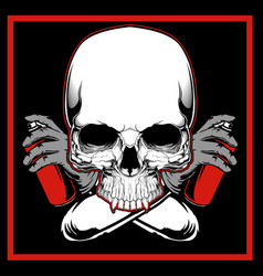 skull painting graffiti hand drawingshirt designs vector image