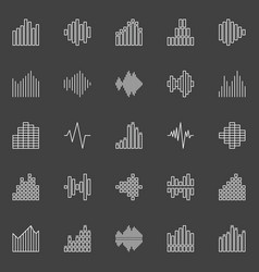 Sound waves line icons vector