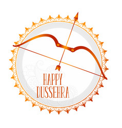 Stylish hindu dussehra festival card with bow and vector
