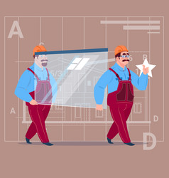 two cartoon builders carry glass wearing uniform vector image