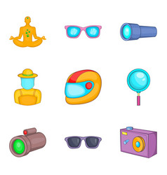 Video perception icons set cartoon style vector