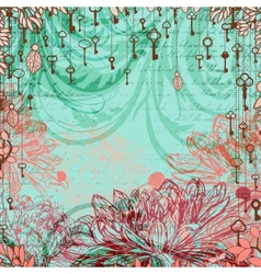 Vintage background with chrysanthemum flowers and vector