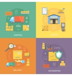 Warehouse flat set of logistics service vector image