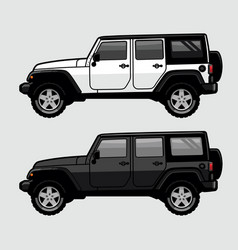 white and black 4x4 off road suv side view in vector image