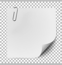 White note paper with glaring metallic clip vector