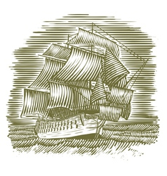 Woodcut Ship vector