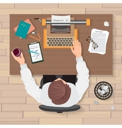 Writer s workplace top view of man writer working vector