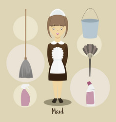young beautiful maid vector image