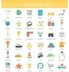 Travel color flat icon set Elegant style vector image