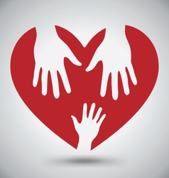 Two Helping Hands On Red Heart vector image vector image