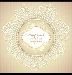 Wedding or sweet frame with pearls petals and lace vector