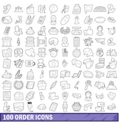 100 order icons set outline style vector image vector image