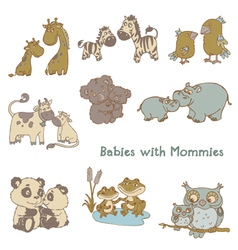 Babies with Their Mommies vector image