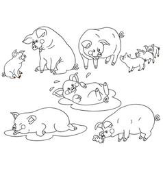 set of cute cartoon pigs vector image vector image