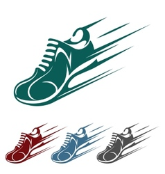 Speeding running shoe icons vector