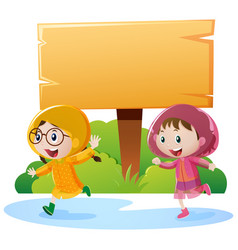 Wooden sign and two girls in raincoat vector