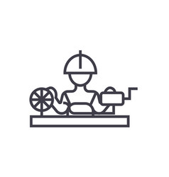 worker industry line icon sign vector image