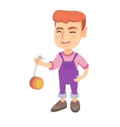 caucasian boy playing with yo-yo vector image